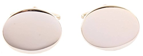(David Van Hagen Mens Shiny Oval Gold Plated Cufflinks - Gold)