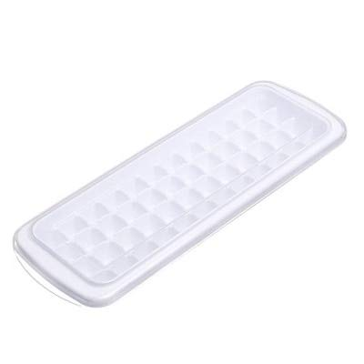 Sonita3008 Ice Tray with Lid Ice Cube Tray Plastic Reusable Ice Cubes Mold Square Shape 48 -Ice DIY Fruit Ice Cream Maker with Removable Lid