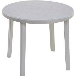 Table de jardin ronde en résine blanche de diamètre 90 cm.: Amazon ...