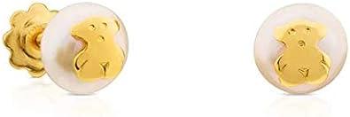 TOUS Pendientes Baby en oro amarillo de 18kt y perlas cultivadas de 0,4 cm. Cierre rosca.