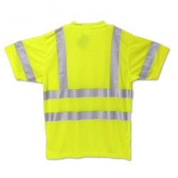 """OccuNomix LUX-SSTP3-YL Premium Dual Stripe Short Sleeve Wicking T-Shirt with Pocket, Class 3, 100% ANSI Wicking Polyester with 2"""" 3M Scotchlite Reflective Material, Large, Yellow (High Visibility)"""
