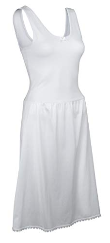 Ladies Cotton Slips - TruFit Womans Top Full Slip | Cotton | Machine Wash | (38-24 Length, White),38-24 Length,White