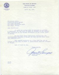 Signed Sawyer, Grant Typed Letter (Nevada Governor on The State of Nevada Paper - Dated April 18, 1966 - Personalized To Christiane LeBon) autographed