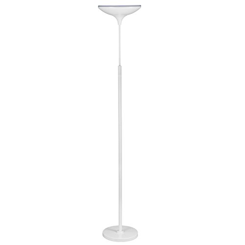 Globe Electric LED Floor Lamp Torchiere, Energy Star Certified, Dimmable, Super Bright, 43W, 3010 Lumens, Matte White Finish ()