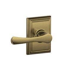 Schlage F10-VLA-ADD Avila Passage Door Lever Set with Decorative Addison Trim, Antique Brass ()
