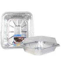 12 Pack - Foil Roasting Pans with Plastic Lids