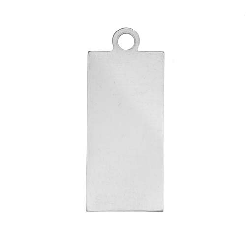 Beadaholique Sterling Silver Stamping Blank, Rectangle with Loop 24.5x11.5mm, 1 Piece, Silver