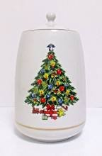 Vintage Jamestown China Christmas Treasure Cookie Jar, Canister