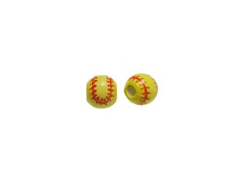 20pcs 8mm Softball Ceramic Sports Beads-Hand Painted