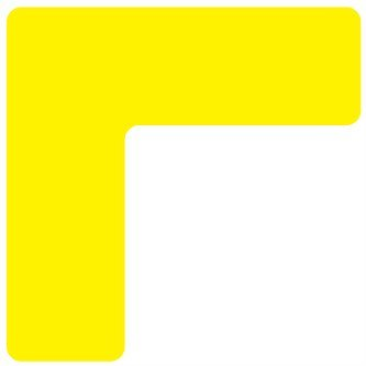 Floor Sticker/5S/ Lean/ Six Sigma, Corner Yellow, 2''x 2'' x .75 '' (pck 25) by Graphical Warehouse