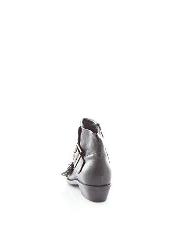 Calzature Donna MANILA GRACE stivaletto texano, in pelle, applicazione di borchie, cinturino regolabile, chiusura laterale con zip, suola interna in cuoio Schwarz