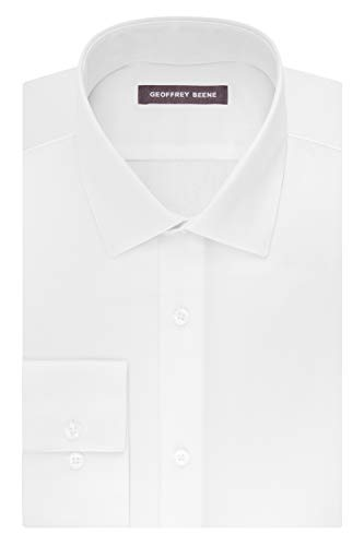 - Geoffrey Beene Men's Sateen Fitted Solid Spread Collar Dress Shirt, White, 16