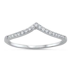 New V-Shape Cubic Zirconia Band .925 Sterling Silver Ring Size 12