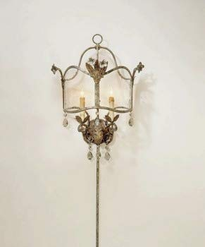 (Currey and Company 5357 2 Light Zara Wall Sconce, Viejo Gold/Silver Finish with Seeded Glass and Smoke Crystal)
