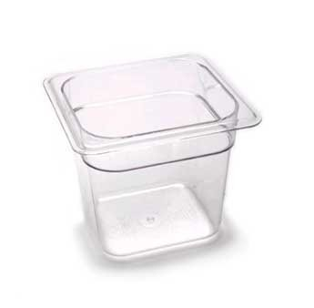 Camwear Food Pan, Plastic, 1/6 Size, 6'' Deep, Polycarbonate, Clear, Nsf (6 - Polycarbonate Steam Pans Table