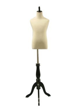 """Child Mannequin Dress Form White on Adjustable Black Tripod Base Size Small 22""""19""""22"""" (French Series) Made By OM"""