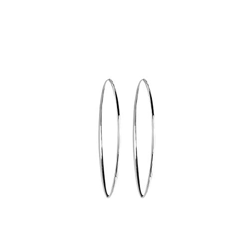 VANA JEWELRY 5.5CM Silver Hoop Earrings for Women Nickel Free Hypoallergenic Earrings for Sensitive Ears White Loop Fashion Teen Girls Jewelry w/Gift Box