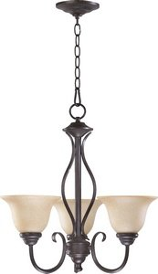 Quorum 6010-3-44 Spencer - Three Light Chandelier, Toasted Sienna Finish with Amber Scavo Glass (Grace Three Light Chandelier)
