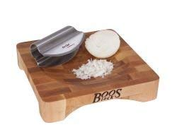 John Boos Block CHBKN-1010-SD Square Mezzaluna Maple Wood End Grain Cutting Board with Concaved Bowl Shaped Center and Stainless Steel Mezzaluna Rocking Knife, 10 Inches x 10 Inches x 2 Inches ()
