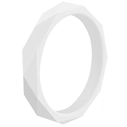 EMBNN Silicone Wedding Rings for Women Men, Skin-Friendly Rubber Wedding Bands, Thin Comfy Colorfast Stackable Kit, Set of 1, White, Size 6 (16.5mm) (White Men Looking For Black Women To Marry)