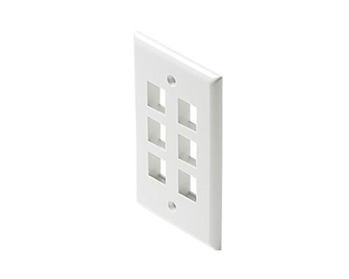 Black Point Products BT-203 White Cat-5 6-Cavity Keystone Wall Plate, White