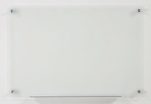 """Frosted Glass Dry-Erase Board - 23 5/8"""" x 35 1/2"""" - Includes Board and Aluminum Marker Tray"""