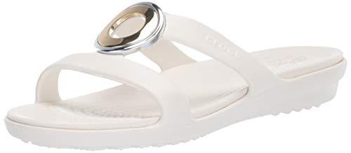 Crocs Women's Sanrah MetalBlock Sandal Slide, Multi Metal/Oyster, 7 M -