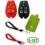 Silicone Smart Key Fob Cover Case Shell Car Key Jacket Keyless Entry Remote Protective Case Skin Cover With Key Bag Holder and Silicone Key Chain for Dodge Grand Caravan/Ram Journey Jeep Chrysler