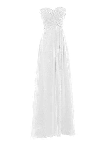 Snowskite Womens Sweetheart Long Chiffon Bridesmaid Evening Dress size 14 Ivory (Sweetheart Chiffon Neck Beading)