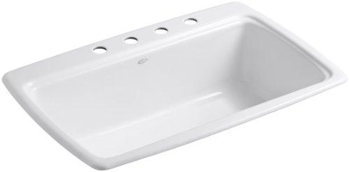 (KOHLER K-5863-4-0 Cape Dory Self-Rimming Kitchen Sink, White)
