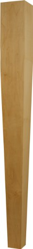 Single Unfinished Tapered (Four Sided) Island Post in Soft Maple - Dimensions: 34 1/2 x 3 1/2 inches by Osborne Wood Products (Image #3)