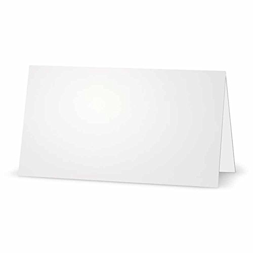 White Place Cards - FLAT or TENT Style - 10 or 50 PACK - Solid Color Placement Table Name Dinner Seat - Stationery Party Supplies - Any Occasion Event or Holiday (50, TENT Style) by Stationery Creations