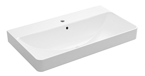 KOHLER 2749-1-0 Vox Rectangle Trough Vessel Bathroom Sink with single Faucet Hole White