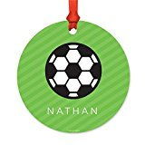 Andaz Press Fully Personalized Metal Christmas Ornament, Soccer, 1-Pack, Includes Ribbon and Gift Bag, Custom Name