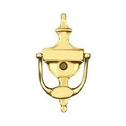 Stanley lifespan polished solid brass door knocker and viewer - Brass door knocker with viewer ...