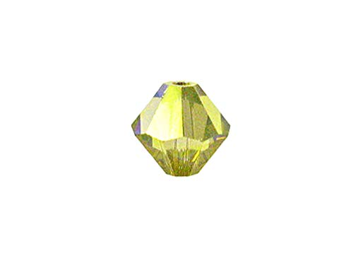 (Swarovski Crystal, 5328 Bicone Beads 6mm, Lime AB, Wholesale Packs | Pack of 36)