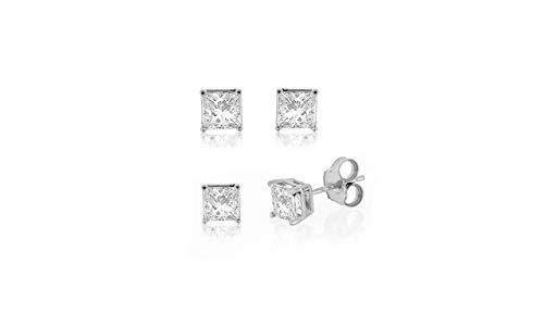 IGI Certified 10k White Gold 0.10ct to 2ct Princess Diamond Stud Earring (H-I, I2-I3) ()