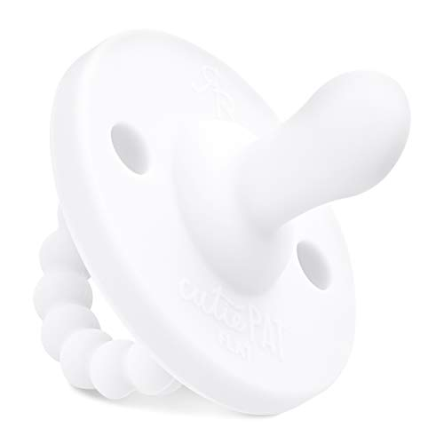 - Ryan & Rose Cutie PAT Pacifier Teether All-in-One (White, Flat)