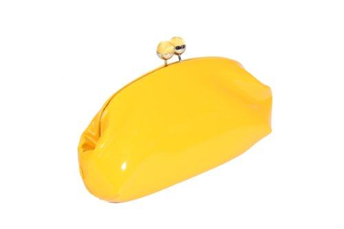 Olga Berg Clutch mit Verschlussknöpfen, groß, Gelb