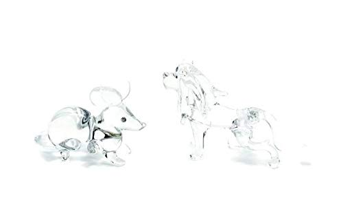 3 D Crystal Toy Lion and Rat Hand Bowl Glass Dollhouse Miniatures Decoration