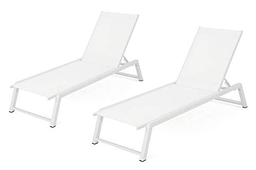 Noble House Belle Outdoor Chaise Lounge in White Mesh – Set of 2