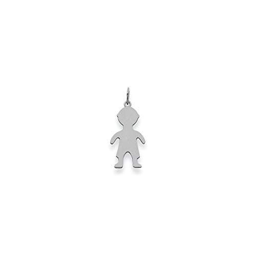 14K White Gold Plain Small 0.011 Gauge Engravable Boy Charm (1IN long x 0.4IN wide)