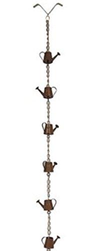 NACH AO-2864 Stylish Decorative Metallic Rain Chain Bucket, Gutter Downspout Replacement, 8 Feet Long, Iron, Watering Can