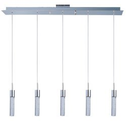 Lite Double Glass Pendant - ET2 E22774-91PC Fizz IV 5-Light LED Linear Pendant, Polished Chrome Finish, Bubble Glass, PCB LED Bulb, 20W Max., Dry Safety Rated, 2900K Color Temp., Standard Dimmable, Glass Shade Material, 1570 Rated Lumens