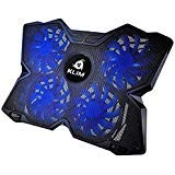 ⭐️KLIM Wind Laptop Cooling Pad - Support 11 to 19 Inches Laptops, PS4 - [ 4 Fans ] - Light, Quiet Rapid Cooling Action - Ergonomic Ventilated Support - Gamer USB Slim Portable Gaming Stand - Blue