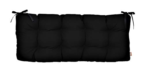 - Resort Spa Home Decor Sunbrella Canvas Black Indoor/Outdoor Tufted Cushion with Ties for Bench, Swing, Glider - Choose Size (48