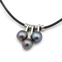 usongs Black natural freshwater pearl necklace pendant necklace