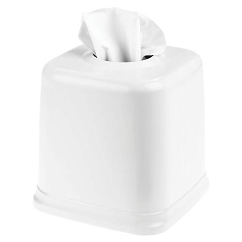 mDesign Square Metal Paper Facial Tissue Box Cover Holder for Bathroom Vanity Countertops, Bedroom Dressers, Night Stands, Desks and Tables - Steel, White (Iron Square Nesting Tables)
