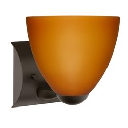Besa Lighting 1WZ-757280-BR 1X75W A19 Sasha II Wall Sconce with Amber Matte Glass, Bronze Finish - 757280 Br Bronze Finish