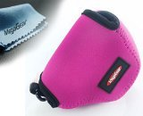 MegaGear ''Ultra Light'' Neoprene Camera Case Bag with Carabiner for Nikon 1 J4, Nikon 1 J5 with 10-30mm (Hot Pink)